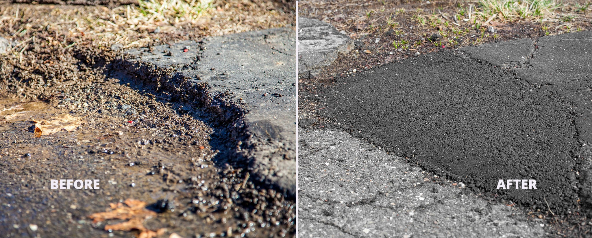 Before and after asphalt patching